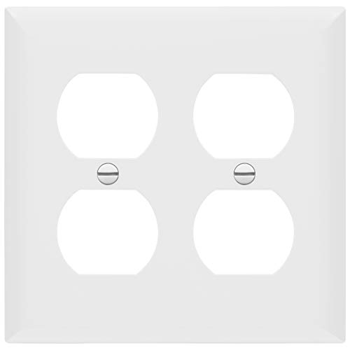 (Enerlites 8822-W Duplex Receptacle Outlet Wall Plate, Standard Size 2-Gang, Polycarbonate Thermoplastic, White)