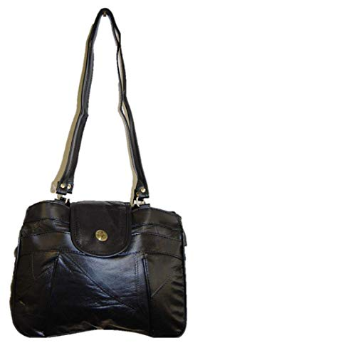 Shoulder With Trim Design Genuine Synthetic Bag Ladies Black Leather Compass 7qgX1g