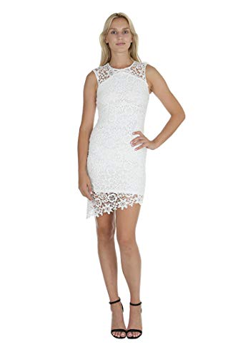 - bebe Women's Sleeveless with Illusion in Top Yoke & Bottom Hem Lace Short Dress White 2