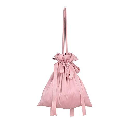 iShine Simple Drawstring Girl Style Ins Drawstring Shoulder Bag Smooth Satin Tote Bag All-Match Casual Bag Fashion Beam Large Capacity Bag