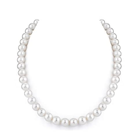 - 31e2rk6f VL - THE PEARL SOURCE 14K Gold AAAA Quality Round White Freshwater Cultured Pearl Necklace for Women in 18″ Princess Length