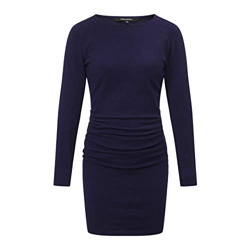 CANALSIDE Bodycon Sweater Dresses for Women Fitted Long Sleeve Scoop Neck Knit Wear (XS, Navy Blue) -