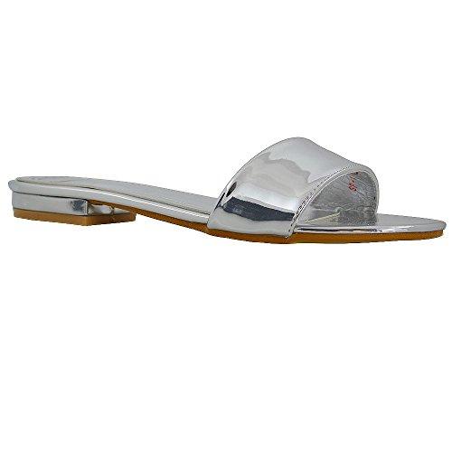 ESSEX GLAM Mujer Casual Ponerse Sintético Deslizador Sandalia Zapatos Plata Metálico