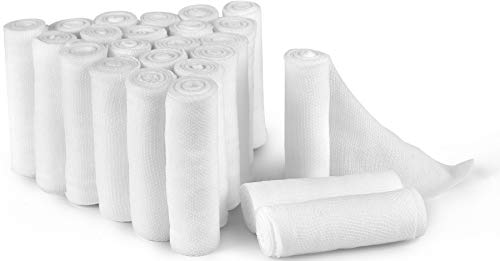 D&H Medical 24 Bulk Pack Gauze Stretch Bandage Roll, 2 Inch X 4 Yards FDA Approved, Used for Wound Care, Easy to Use Cotton Ply Rolled Hand Wrap Dressing Ankles & Knees. Add to First Aid Supplies -