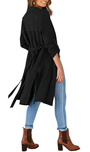 Puro Festa Spacco Ragazze Primaverile Moda Autunno Cappotto Relaxed Leggero Lungo Cardigan Eleganti Colore Donna Style Casual Giacche Manica Jacket Schwarz Lunga wxfvqwaXH