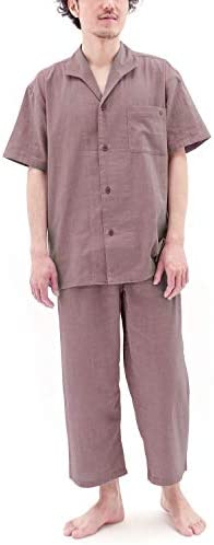 パジャマ 半袖 前開き ストレッチ 二重 ガーゼ メンズ/アガットレッド・Mサイズ