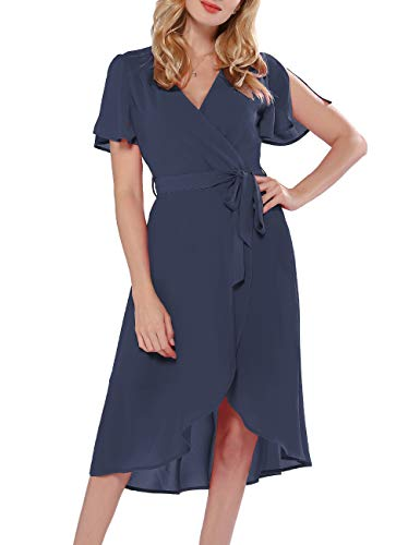 Azalosie Women Wrap Midi Dress V Neck Short Sleeve Tie Waist High Low Flowy Slit Dress Summer Beach Wedding Maxi Dress Dusty Blue