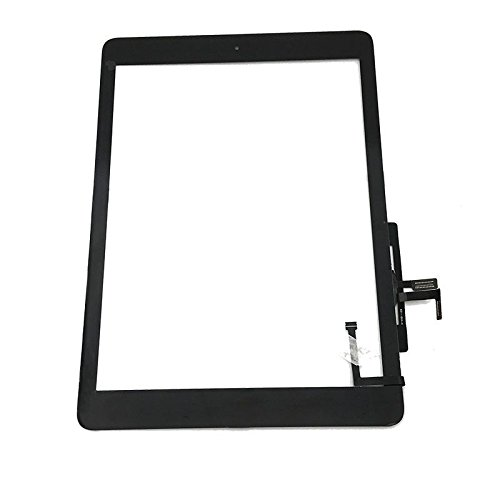 Aiiworld Digitizer Replacement Touch Screen for Ipad Air 1 1st Generation A1474 A1475 A1476, 9.7 Touch Panel Parts with Home Button, Camera Bracket, Adhesive Pre-installed (Black)