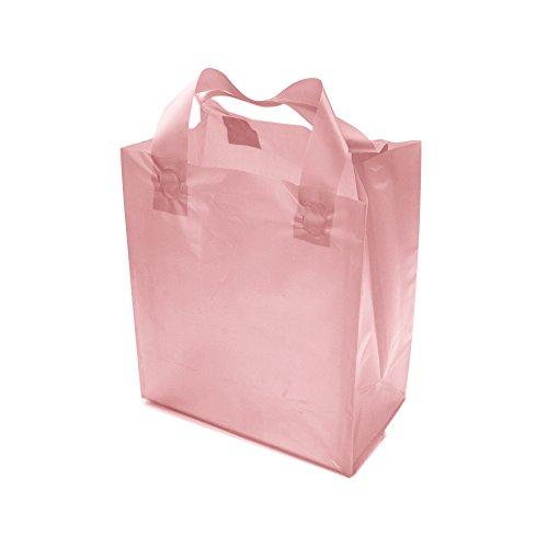 "PackStash (20 Qty) 16"" x 12"" + 6"" Semi-Transparent Blush Pink (Medium) Rigid Plastic Soft Loop Handle Gift/Retail Shopping Bags - Cardboard Base"