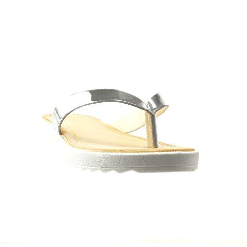 Angkorly - damen Schuhe Sandalen Flip-Flops - T-Spange - glänzende flache Ferse 2 CM - Silber
