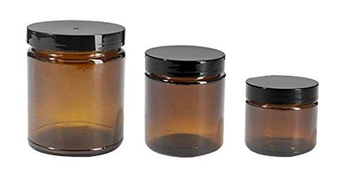 Premium Vials B67-12 Amber Glass Jar with Black Lid, 2 oz Capacity (Pack of 12)