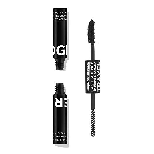3D Fiber Lash Mascara Travel. Compact Fiber Lash Kit by Simply Naked Beauty (Midnight Black) Waterproof, lengthening, volume. The best 3D and 4D gel and fibers ever. Non toxic. Now in a traveling size (Best Non Toxic Mascara)