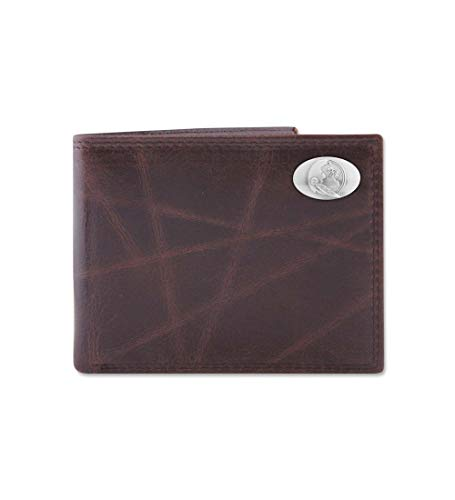 NCAA Florida State Seminoles Brown Wrinkle Leather Bifold Concho Wallet, One Size