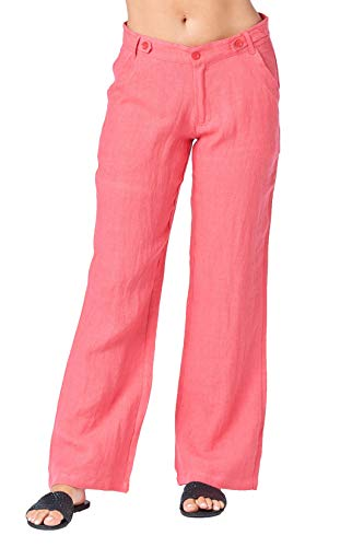 (Mariyaab Women's Wide Leg Loose Fitting 100% Linen Pants with Button Closure (006A, ParadisePink, 18))