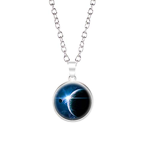 Glow in The Dark Moon Necklace 18mm Galaxy Planet Glass Cabochon Pendant Necklace Silver Chain Luminous Jewelry Women Gifts,A-24