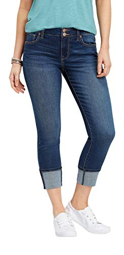 maurices Women's Denimflex TM High Rise Double Button Cuffed Cropped Jean 8 Dark Sandblast from maurices