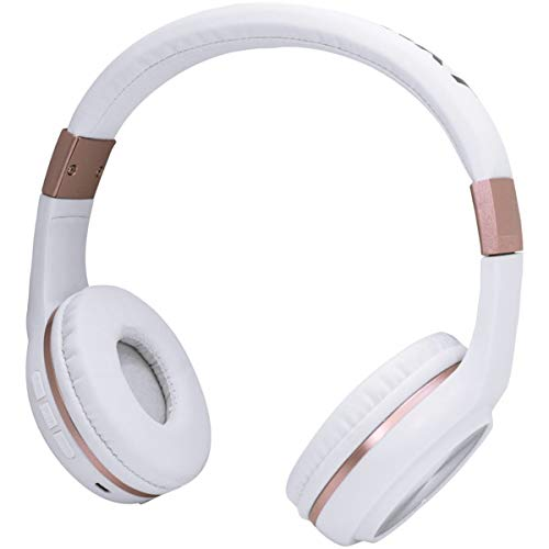 Blaupunkt Bluetooth Over-The-Ear Headphones with Microphone (White and Rose Gold)