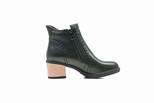 Dark Heel Mid Green Casual Boots Carolbar Western Women's Zippers Chic Short qwvnIYBXzx