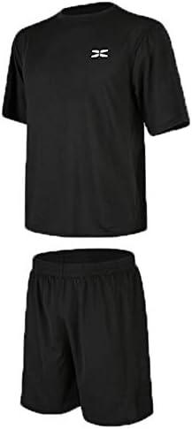 レディースジャージ上下セット Tシャツとルースショートパンツ2個セットメンズワークアウト服 吸汗 速乾 (Color : Black, Size : L)