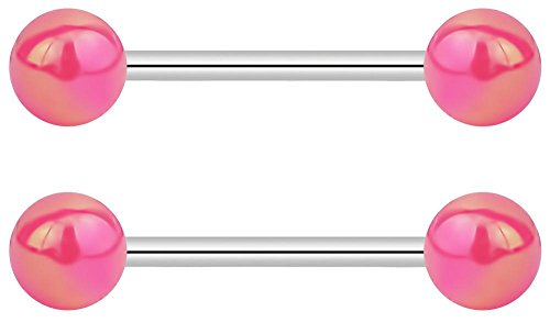 (14G 16mm (5/8 Inch) Nipple or Tongue Ring Barbell Set with Pink Metallic Balls)