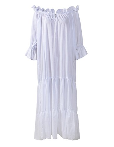(ReminisceBoutique Renaissance Medieval Dress Costume Classic Chemise Ruffled Tiered Peasant Sleeve (Regular, White))