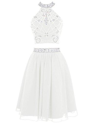 Two Dress Short Ivory Formal Beading Pieces BessDress Evening Halter BD132 Homecoming gCfWqw