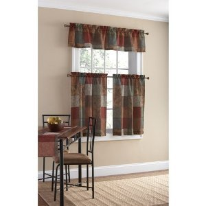 Multi-Color Polyester Small Curtain Panel and Valance Set Tuscan-inspired -