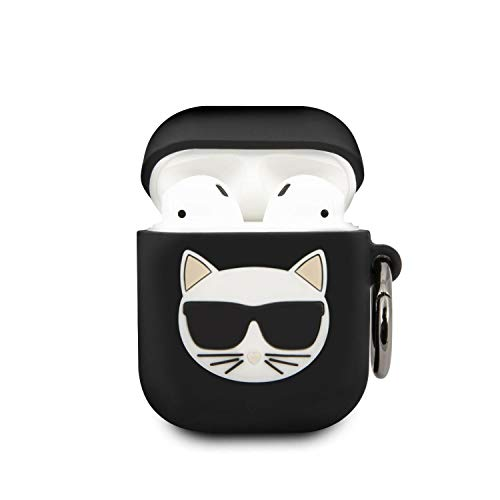 Karl Lagerfeld AirPods Case Cover for AirPods 1/2 Silicone Case with Ring and Choupette Black