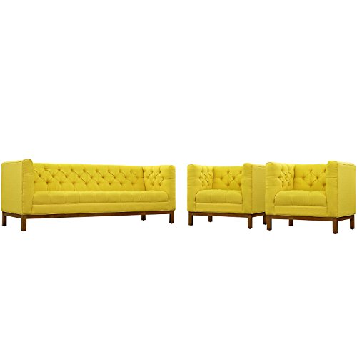 Modway EEI-2435-SUN-SET Panache Upholstered Fabric Modern Tufted Sofa and Two Armchair Set Sunny Review