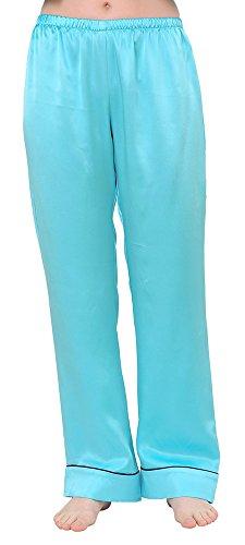 Mary Crafts Womens Silk Sleep Pajama Trousers Long Pants Bottoms 8 Turquoise
