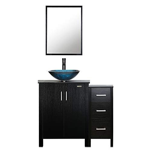 eclife 36'' Bathroom Vanity Sink Combo Black W/Small Side Cabinet Vanity Turquoise -