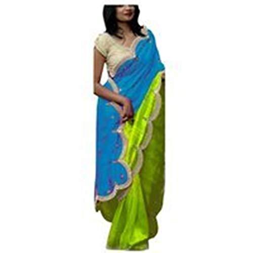 Y Blusa Un Mujeres Para Azul Con Puro La Desgaste A299 Rekha Indio Color Diseñador De Sari Las Chitton Puntada Tienda Étnico Verde qYwfU8