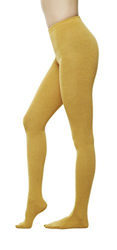 Cotton Flat Knit Tights - Women Color Flat knit Sweater Cotton Stirrup Footless Footed tights (S/M, Mustard)