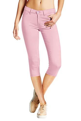 (Women's Hyper Stretch Denim Capri Jeans Q44876 Lilac)