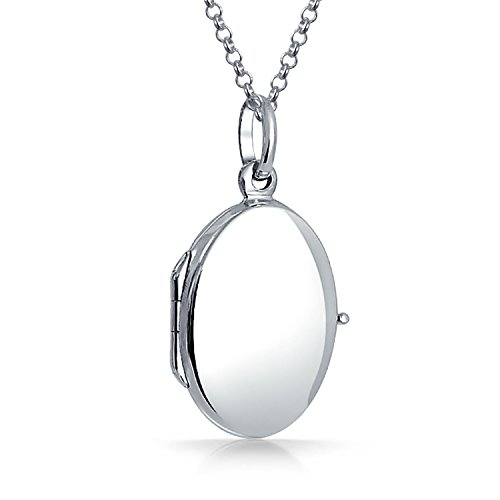 Basic Polished 925 Sterling Silver Engravable Oval Pendant Necklace Locket For Women For Teen 18 -