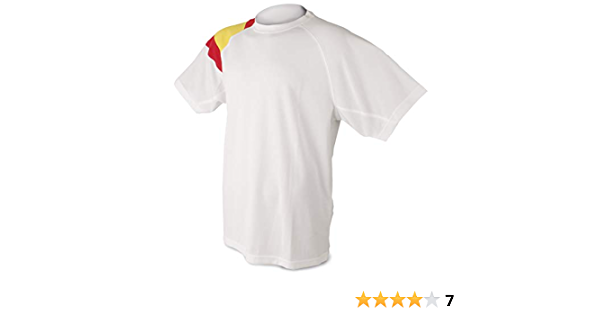 Camiseta Bandera D&F-Camiseta Blanca con los Colores de España