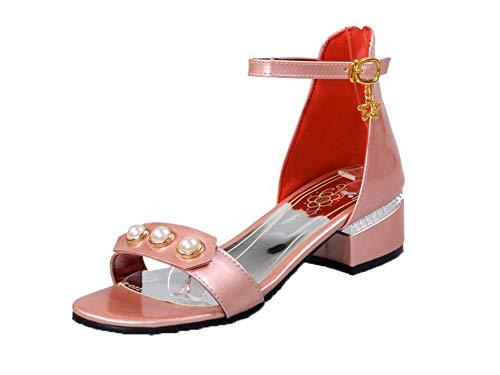 VogueZone009 Women Zipper Patent Leather Open-Toe Low-Heels Zipper Sandals,CCALP014627 Pink
