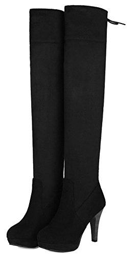 Aisun Damen Sexy Overknee Rund Zehen Langschaft Trichterabsatz High Heel Stiefel Mit Plateau Schwarz