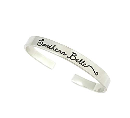 Southern Belle - Southern Jewelry - Thick Pewter Cuff Bracelet - Hand Stamped Jewelry - Personalized Engraved Jewelry]()