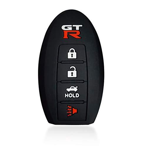 Massimiliano Incas Dobrev Black 4 Buttons Silicone Case Protector Key Fob Smart Car Remote Holder for Nissan GTR R35 (Black)
