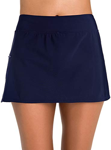 Penbrooke Women's Swimwear Solid Skort Tummy Control Swim Bottom with Zip Pocket, Navy, 12