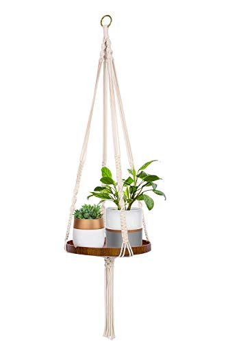 TIMEYARD Macrame Plant Shelf Hangers-Indoor Hanging Planter Decorative Pot Holder with Beautiful Flower Cut Outs - Boho Chic Bohemian Home Decor, in Box