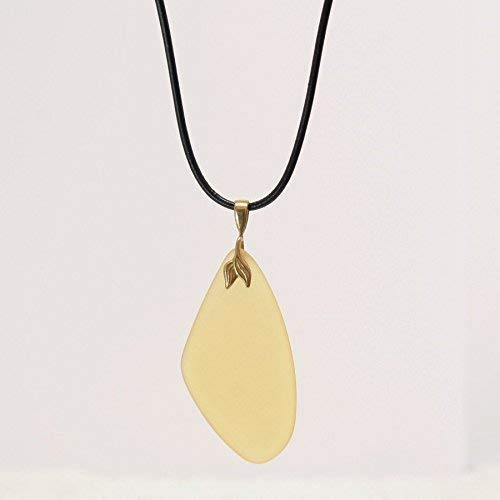 Freeform Lemon Recycled Glass Pendant Necklace - Natural Black Leather Cord, 2.5 & 17-in