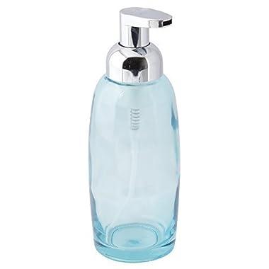mDesign Foaming Glass Soap Dispenser Pump for Kitchen, Bathroom Vanities - Aqua/Chrome