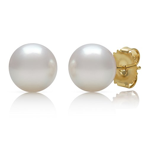 14K Gold AAA Quality White Cultured Freshwater Pearl Stud Earrings