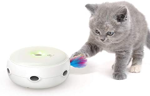 VAVAPet Interactive Cat Toys, Cat Toys Three Modes Day&Night Play Automatic Randomly Stimulates Cat's Senses Easy Replace Feather(Included Battery&Spare Feather) (Full Unit) 2