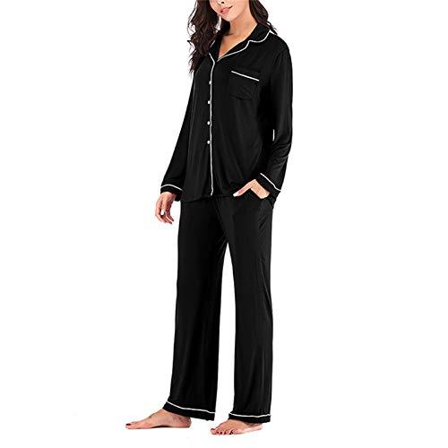 Women\'s Long Sleeve Pajamas Set 2 Piece Nightwear Button Down Sleepwear Soft Pjs Black L