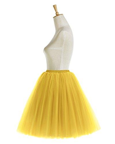 Bridesmay Faldas Tul Mujer Corta Cancan Enagua Retro Rockabilly Yellow