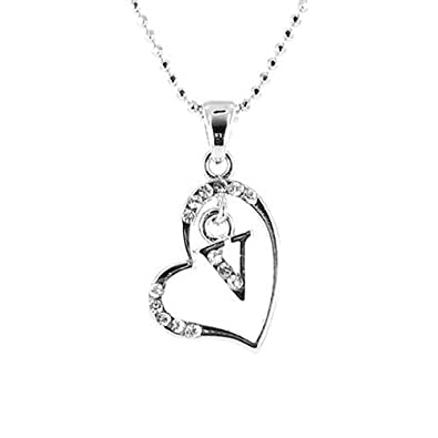 f69e8e0d95ae52 Image Unavailable. Image not available for. Color: Clear Crystal on Silver  Plated Initial Necklace ...