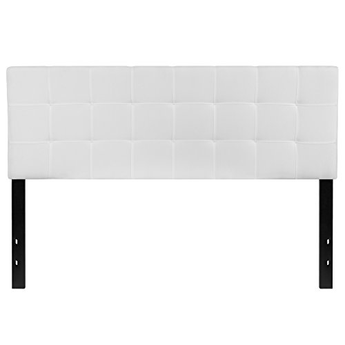 Flash Furniture Bedford Tufted Upholstered Queen Size Headboard in White (Fabric Upholstered Headboard)